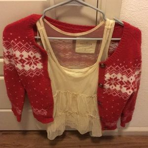 Hollister red fair isle cardigan with tank top
